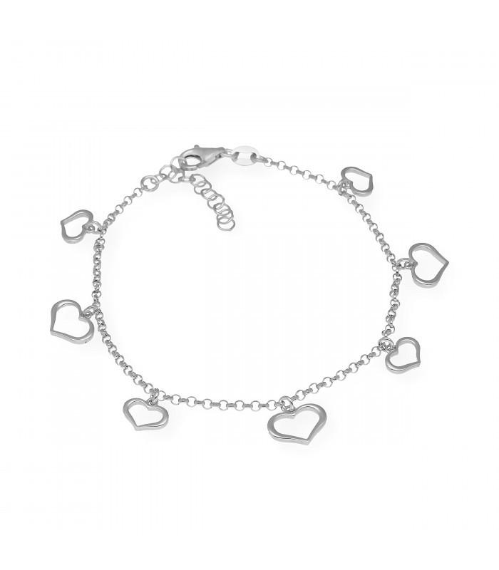Pulsera cruz en plata con circonitas y cordón ajustable