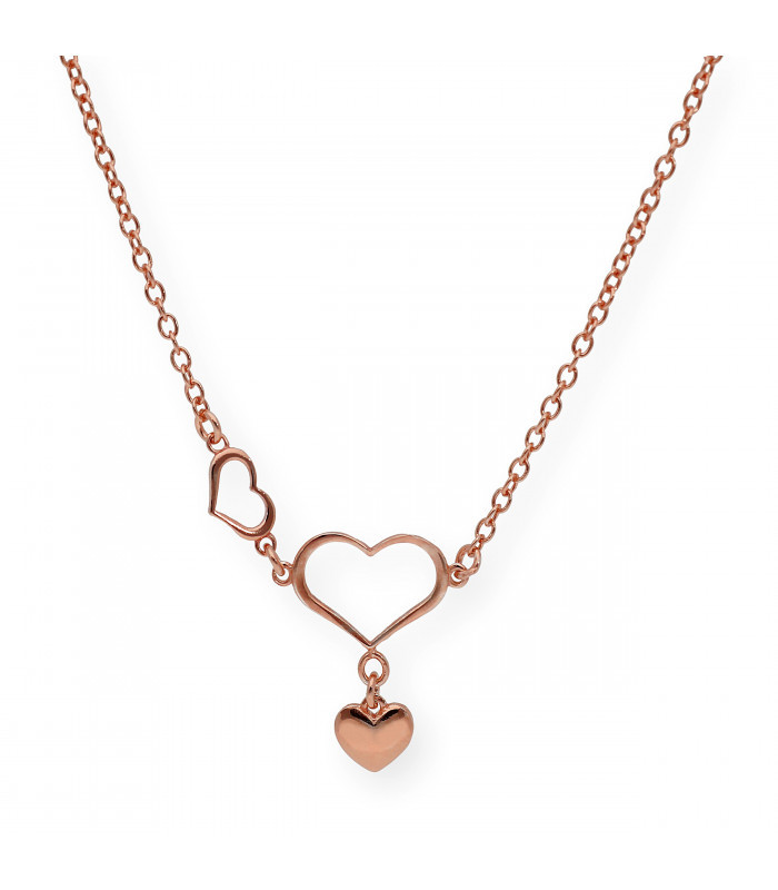 Gargantilla de oro con corazón doble, corazon y trébol