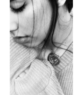 Pendientes de plata de ley con perla gris