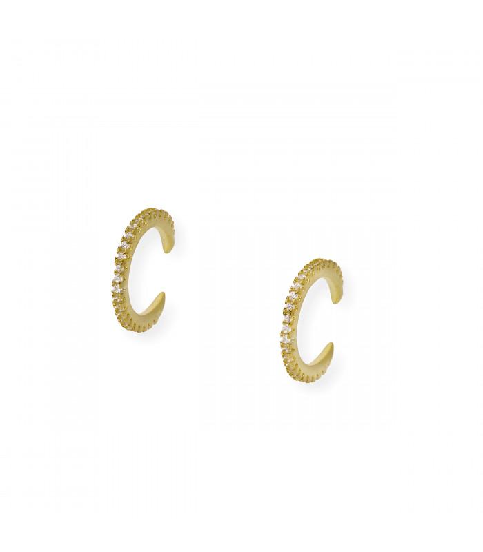 Pendientes desmontables de plata oro y rubíes Colección Bauhaus mod. Lilly