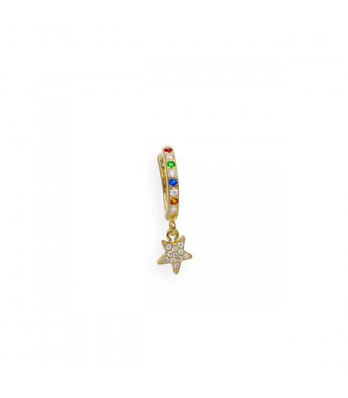 Colgante cruz de plata con topacios azules