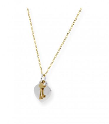 Pulsera alas plata oro con cadena